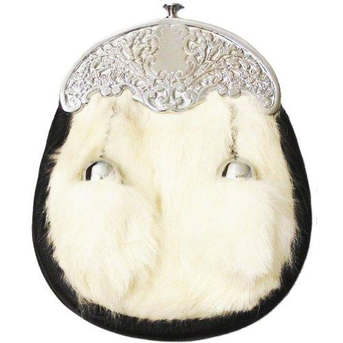 Tartanista - Sporran en fourrure de lapin - fermoir à motif chardon - garçon - blanc
