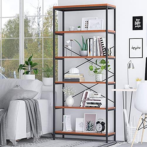 Himimi Libreria Scaffale Libreria moderna industriale a 5 piani per soggiorno, cucina, ufficio 180 x 80,3 x 30 cm