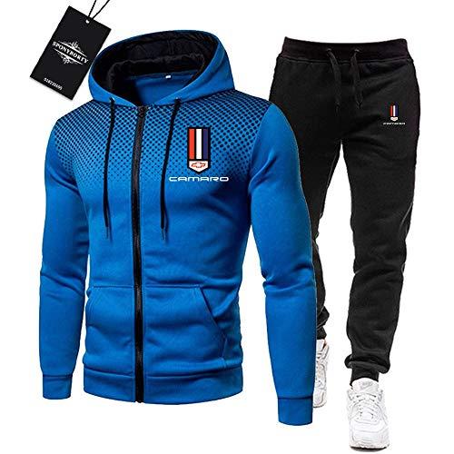 BOLGRTYXC de Los Hombres Chandal Conjunto Trotar Traje Ca.M_Aro Hooded Zipper Chaqueta + Pantalones Deporte R Deportes/blue/XXL