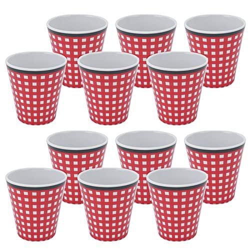 PBOHUZ Taza de Bebida -12 Piezas Taza de melamina Taza de Bebida de té de café con Leche para la Oficina de la Escuela del Restaurante en casa