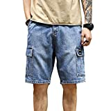 LONGBIDA Men's Loose Fit Denim Cargo Shorts with Multi Pockets(Blue,34)