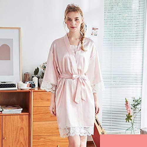 TONGS Bata de Noche Primavera Y Otoño una Pieza Manga Larga Señoras Bata de Baño Seda Pijama Casa Servicio Suave Textura/Rosa Claro / 2XL