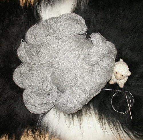 Natur-Fell-Shop Wolle Schafwolle Schurwolle STRICKGARN HELLGRAU 1000g