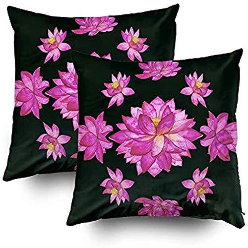 Sofa kussens, set van 2 Botanische wercol trekker Bloem pk Lotus Kan worden gebruikt een Vierkante Slaapbank Bed