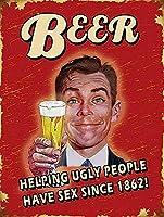 醜い人を助けるビール RetroMetal 錫看板 12x8 インチ ホーム キッチン 寝室 バー看板 装飾 ポスター 錫看板 ハロウィン 感謝祭 ギフト メタルプレートブリキ 看板 2枚セットアンティークレトロ