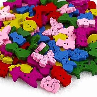 PULABO Lot de 100 boutons en bois pour loisirs créatifs, couture, scrapbooking, vêtements, décoration, accessoire très pra...