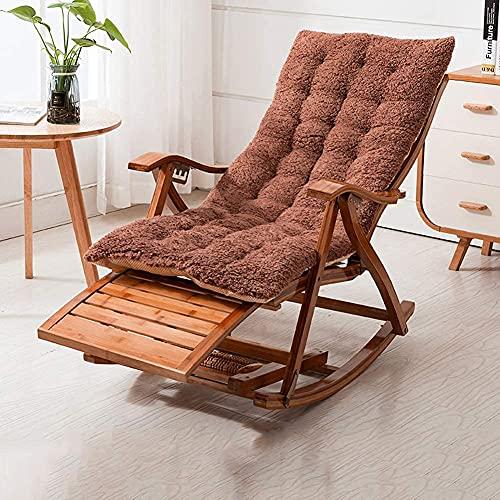 Gartenstuhl, Schwerelosigkeitsstuhl, Loungesessel, Klappbarer Schaukelstuhl aus Holz Balkon Bambus Verstellbarer Rückenstuhl mit Kopfstütze und Fußmassage Outdoor Su