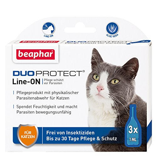 beaphar 17062 DuoProtect Katze | Pflege & Schutz für Katzen | Physikalische Parasitenabwehr | Mit Dimeticon & Aleo Vera | Wirkt bis zu 30 Tage