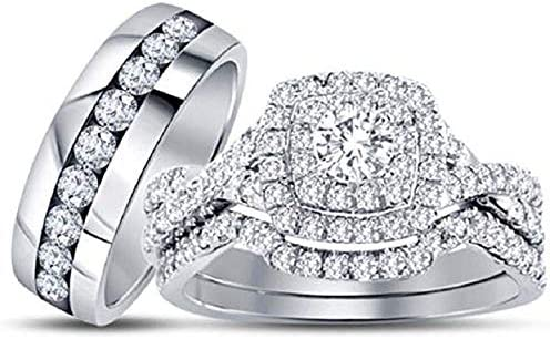 Triostar 1.50 Ct Diamond His Max 41% OFF Engagement Halo Her Wedding Great interest Trio
