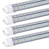 20 PCS T8/T10/T12 8FT LED Tube Light, R17D/HO 8FT LED Bulbs, 96' V Shaped, 120W (Replacement for F96T12/CW/HO 150W), Cold White 6000-6500K Clear Lens,Dual-Ended Power