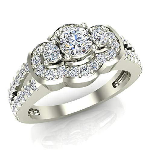 1.00 ct tw Three Stone Split Shank Wide look Anniversary Engagement Ring 14K White Gold (Ring Size 7) (G, SI)