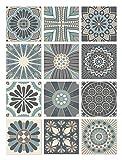 Panorama Azulejos Adhesivos Cocina Baño Pack de 72 Baldosas de 10x10cm Hidráulico Azul - Vinilos Cocina Azulejos - Revestimiento de Paredes - Cenefas Azulejos Adhesivas