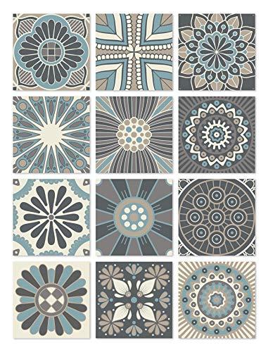 Panorama Azulejos Adhesivos Cocina Baño Pack de 72 Baldosas de 10x10cm Hidráulico Azul - Vinilos Cocina Azulejos - Revestimeinto de Paredes - Cenefas Azulejos Adhesivas