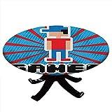 Mantel redondo con bordes elásticos, azul y rojo rayado Boom Beams Retro 90s Toys Boy con gorra, diseño de videojuegos, 91,4 cm de diámetro, color azul, blanco y negro