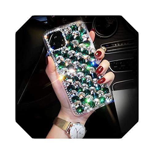 Luxury Bling Jewelled Diamante Crystal Diamond for iPhone11promax 12 6S 7 8 Plus X XR XS Max Cover Acrílic Transparente Glitter Green-for iPhone XR