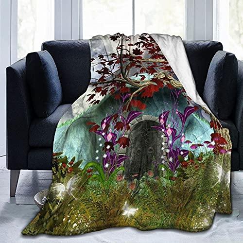 Coperta stampata da giardino con fatine gotiche, leggera e super morbida, in micropile, adatta per divano letto, soggiorno, poltrona, 152,4 x 127 cm