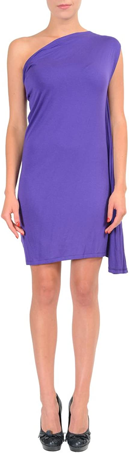 Maison Martin Margiela MM6 Purple One Shoulder Women's Stretch Dress US M IT 42;