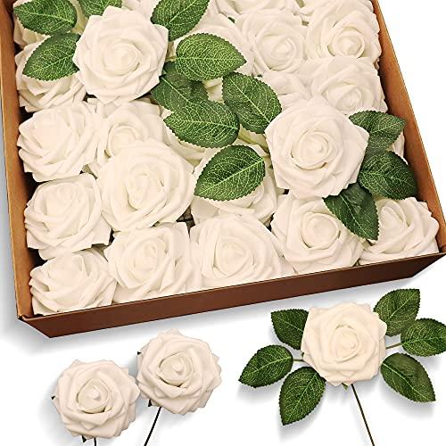 50 Stück Künstliche Blumen Rosen Gefälschte Rosen mit Stiel für Hochzeitssträuße Home Party Dekorationen Valentinstag Weiß