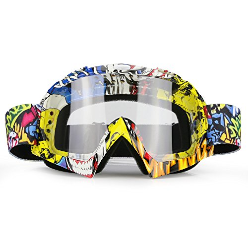 ZDATT Dirt Bike Goggles, ATV Goggles Adult Motocross Goggles Clear Lens Racing MX Goggle Glasses and Ski Goggles
