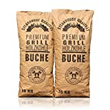 Knight's Firewood 20 kg (2x10kg) Grillkohle Premium Holzkohle Buche...