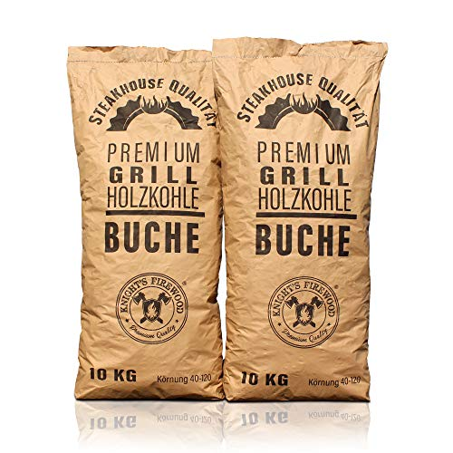 Knight's Firewood 20 kg (2x10kg) Grillkohle Premium Holzkohle Buche Grillholzkohle Buchenholzkohle Steakhauskohle