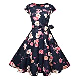 Summer Women Floral Cap Sleeve Vintage Dress with Belt Robe Rockabilly Party Dresses Sundress 009 XL from Lovely-Star