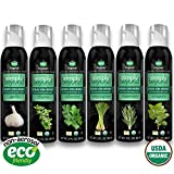 Simply Beyond Organic Spray-On Herbs Starter Kit - Garlic, Oregano, Rosemary, Thyme, Cilantro, Lemongrass, 3floz each (Starter Kit, 6 Pack)