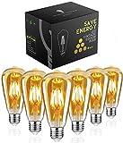 Ampoule Edison, Woowtt Ampoule Led E27, 6W Ampoule LED Vintage, Ampoule LED Filament Antique Rétro Ampoules Décorative Lampe Verre Ambré, 600 Lumens,ST64,220V,6W (équivalent 60W) - 6 Pack