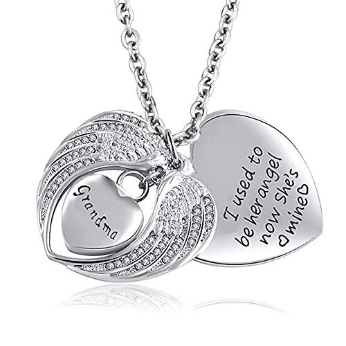 LovelyCharms Angel Wings Heart Urn Necklace for Ashes Stainless Steel Keepsake Memorial Cremation (Grandma)