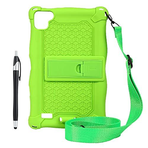Gesh Funda para tablet Teclast P80 P80X P80H de 8 pulgadas, anticaídas, silicona, con correa y lápiz (verde)