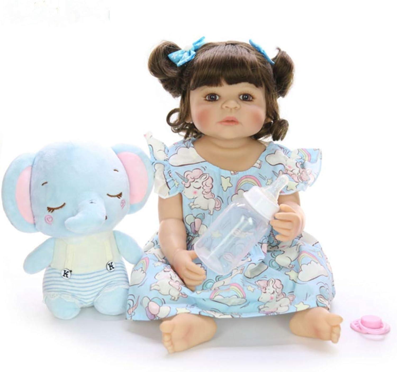 O-YMS Simulation ffne Deine Augen Perücke Mdchen Baby Doll 22 inch 55 cm Weich Vollsilikon-Vinyl Magnetisch Reborn Babypuppen Kinder Spielzeug