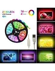 ELEAD USB Powered Smart WiFi 2Meter 60 LEDs Strip Light TV Backlight Strips Lighting Colorful 5050 RGB Lights Home Decoration Lights Easy to Stick Strips Lamps for HDTV Laptop Monitor