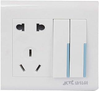 Aexit AC 250V 10A EE. UU. UE, UE, enchufe, forma cuadrada, zócalo, 2 bandas, ON-OFF, montaje en pared, panel, interruptor, (model: W9382VIIO-6490XB) interruptor de encendido