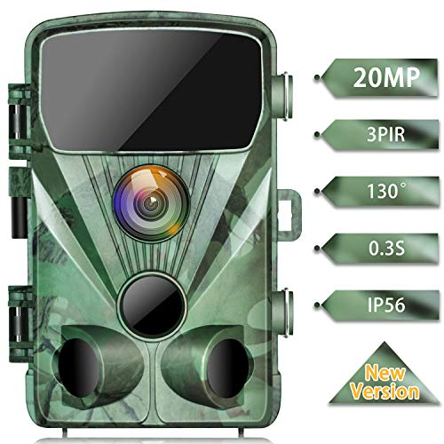 "TOGUARD Trail Camera 20MP 1080P Game Cameras with Night Vision 2.4"" LCD 130° Detection Motion Activated Waterproof Deer Trap Cam for Hunting and Wildlife Monitoring"