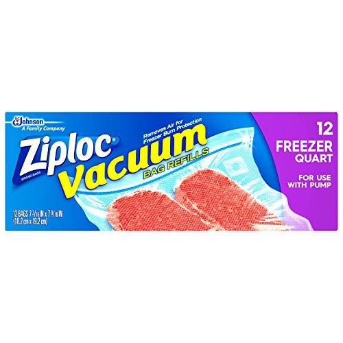 Ziploc Vacuum Refill Bags, Quart, 12-Count(Pack of 3)