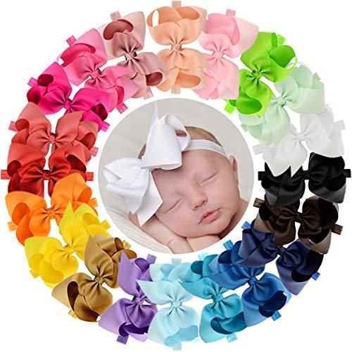 WillingTee Baby Girls Headbands 20 Colors Grosgrain Ribbon Hair Bows Elastic Headbands Hair Accessories for Newborns Baby Girls Infants Toddlers