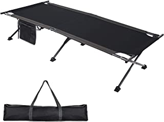 PORTAL Folding Camping Cot, Compact Collapsible Heavy Duty Adult Sleeping Cot Bed with Storage Bag, Great for Travel Tent, Support 300lbs
