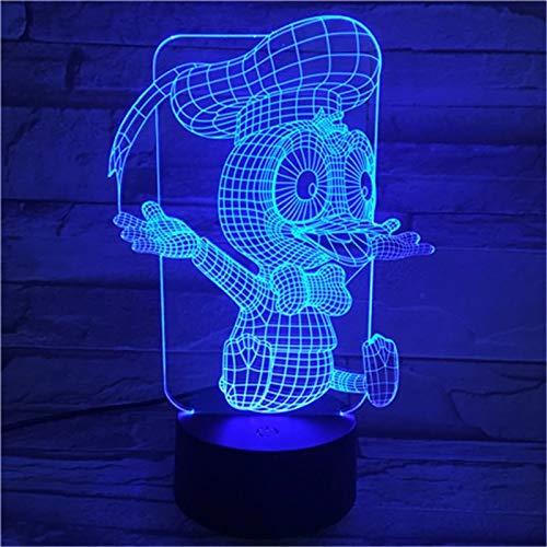 Lámpara de mesa 3D de dibujos animados pato multicolor LED botón de luz nocturna decoración USB regalo de vacaciones