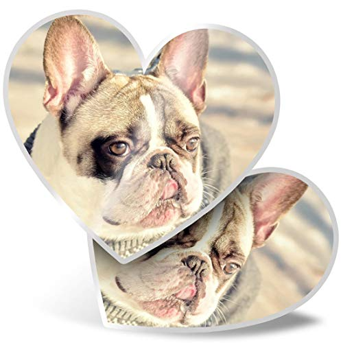 2 pegatinas de corazón de 7,5 cm – Bulldog francés lindo Bulldog Fun Calcomanías para portátiles, tabletas, equipaje, reserva de chatarra, neveras, #3286