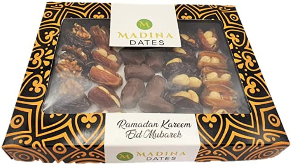 Luxury Mixed Dates with Nuts, Chocolate and Almond Gift Box 400g Eid Ramadan