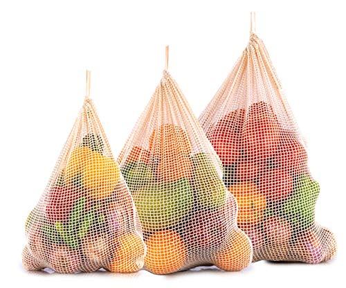 All Cotton and Linen Sacchetto di Verdure in Rete -Borse in Stoffa vegetale -Borse in Rete di Cotone per ortaggi -Borse di Prodotti in Cotone - Produce Bags Mesh (1, 1 XLarge, 1 Large, 1 Medium)