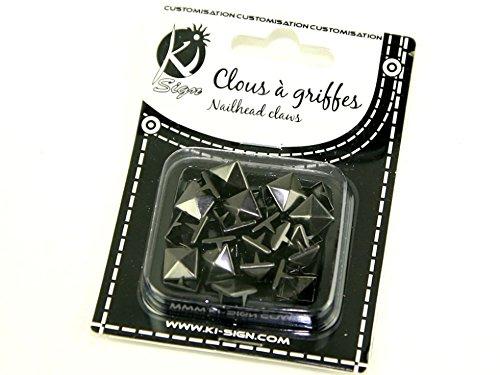 13 mm pyramide en métal Nailhead griffes/clous Fashion (brillantes) – Gris acier