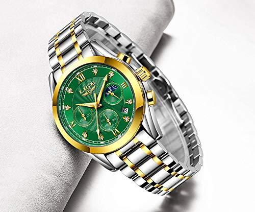 yuge Reloj de oro Señoras Reloj de señoras Creativo de Acero Señoras Reloj de Pulsera Mujer Impermeable Reloj Dorado Verde
