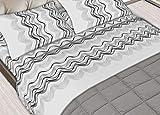 completo lenzuola matrimoniali puro cotone sotto con angoli matrimoniale maxi sopra e due federe mod. Curve grigio o azzurro (grigio)