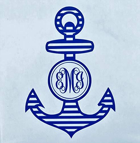 Custom Initial Monogram Vinyl Decal Bumper Sticker, for Tumblers, Laptops, Car Windows - Nautical Anchor Design