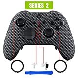 xbox one carbon fiber shell - eXtremeRate Black Silver Carbon Fiber Faceplate Cover, Soft Touch Front Housing Shell Case Replacement Kit for Xbox One Elite Series 2 Controller Model 1797 - Thumbstick Accent Rings Included