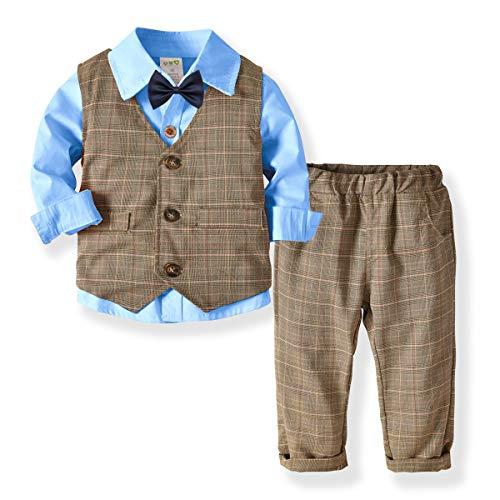 Shangrui Baby Junge Bowtie Gentleman Weste T-Shirt Hosen Hochzeit Anzug Tuch Sets