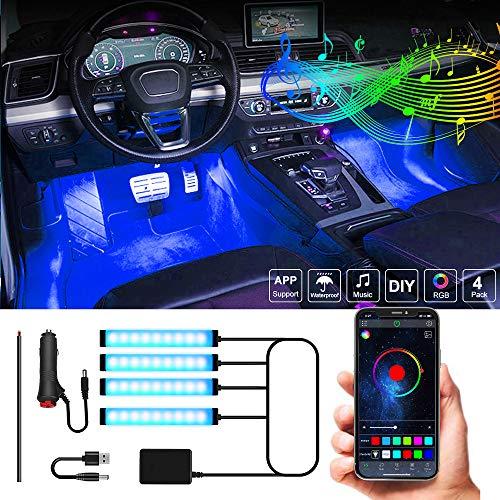 MONDEVIEW LED Auto Interni 56 Modalità Illuminazione Interna per Auto 4 Pezzi 36 LED 16 Milioni di Colori Sigaretta RGB 12V Accesa+DC+USB APP Bluetooth Senza Fili Strisce LED Luce Ambientale RGB IP67
