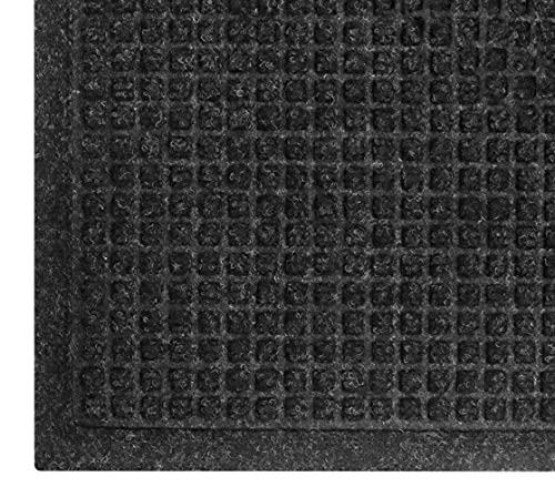 WaterHog Fashion Mat | Commercial-Grade Entrance Mat with Fabric Border – Indoor/Outdoor, Quick Drying, Stain Resistant Door Mat (Charcoal, 3' x 5')