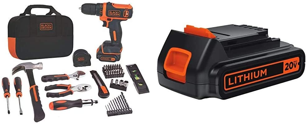 BLACK+DECKER 12V MAX Drill /& Home Tool Kit 60-Piece BDCDD12PK
